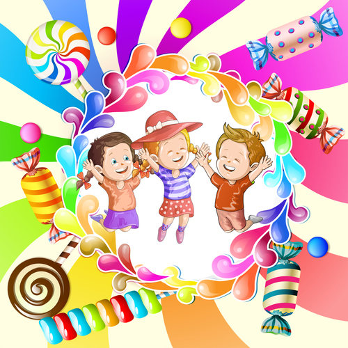 Happy children illustration vector