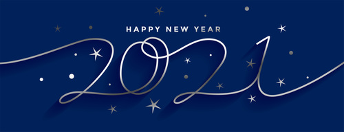 Happy new year 2021 silver line style banner design vector