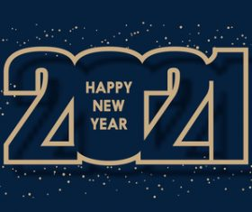Happy new year 2021 with number design vector