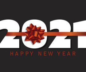 Happy new year banner with red ribbon design vector