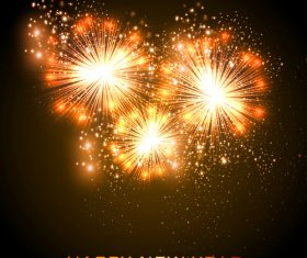 Happy new year fireworks vector
