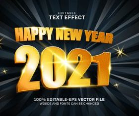 Happy new year gold text effect vector