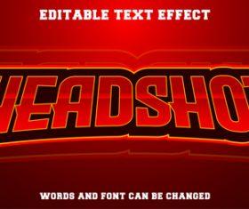 Headshot text style effect vector