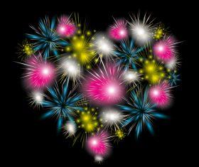 Heart shaped fireworks vector