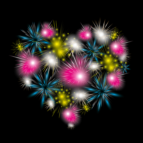 Heart shaped fireworks vector