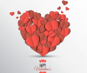 Heart shaped paper cut vector