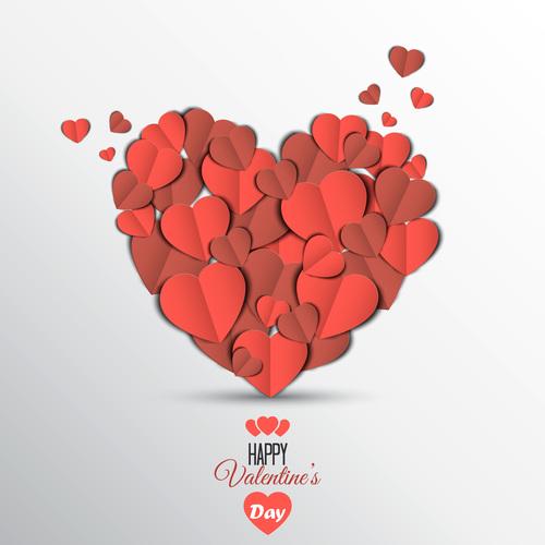 Heart shaped paper cut vector