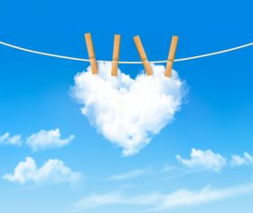 Heart-shaped vector on clothesline