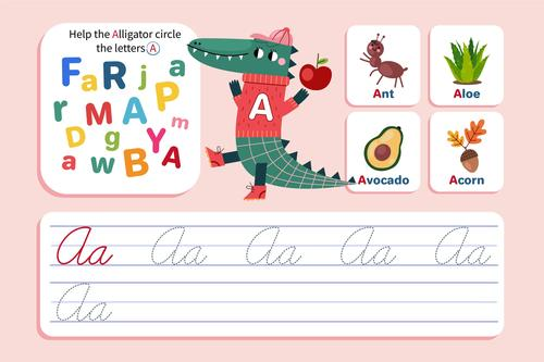 Help the alligator circle the letters A vector