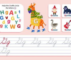 Help the giraffe circle the letters G vector