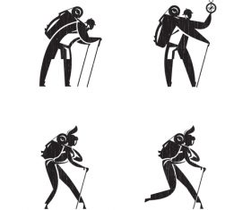 Hiking silhouette vector
