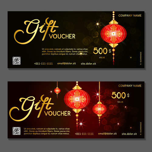 Holiday gift card voucher vector