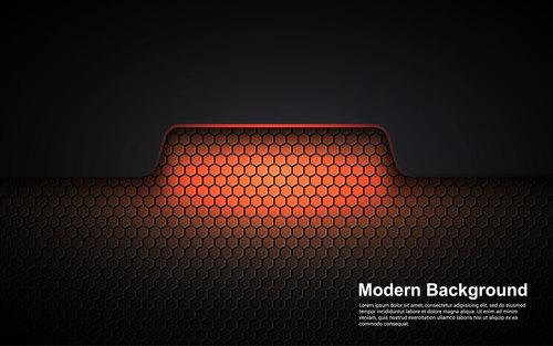 Honeycomb orange red background vector