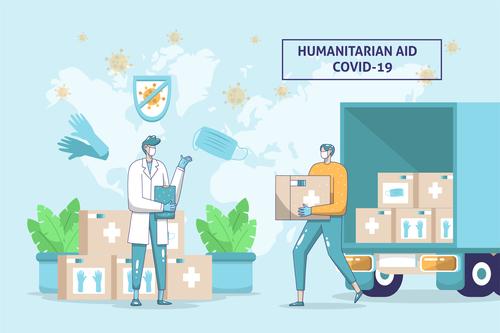 Humanitarian aid covid 19 vector