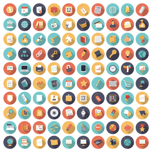 Icons flat colors all business vector set