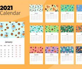 Illustrated 2021 calendar template vector