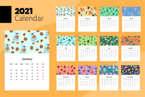 Illustrated 2021 calendar template vector