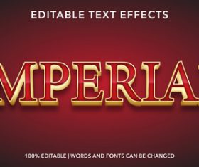 Imperial editable font effect text vector