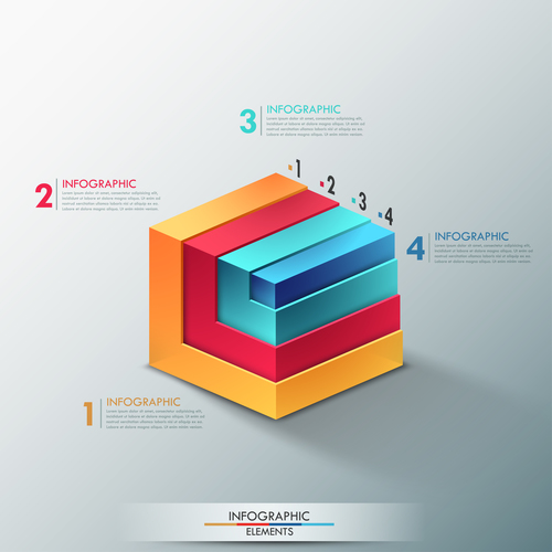 Information layered chart template vector