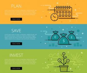 Investment web banner set vector