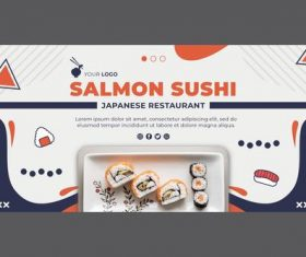 Japanese restaurant banner web template vector