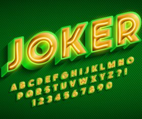 Joker and alphabet illustrator text style effect vector