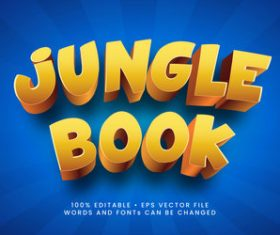 Jungle book 3d editable text style effect vector