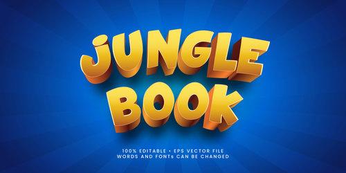 Jungle book 3d editable text style effect vector