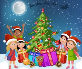 Kids vector around the christmas tree