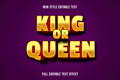 King or queen new style editable text vector