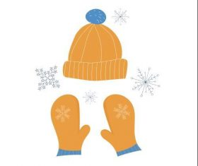 Knit hat and gloves sticker vector