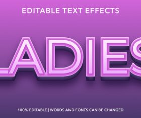 Ladies editable font effect text vector