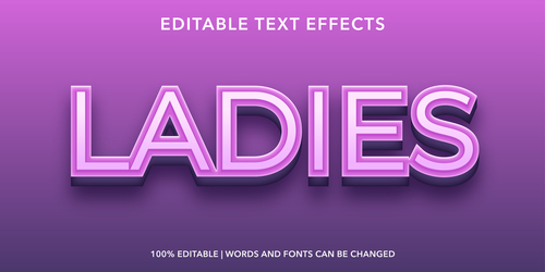 Ladies editable font effect text vector