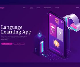 Language learning app vector