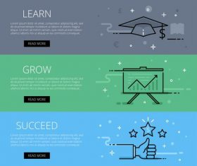 Learn Grow Succeed vector web banner set