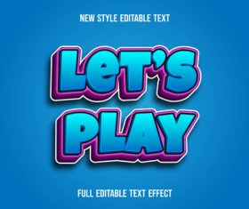 Let's play disable font effect text vector