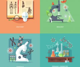 Life research flat banner set vector