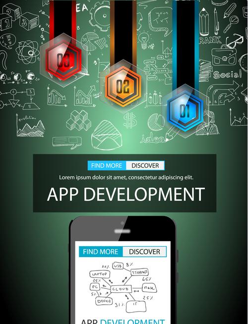 Light background app develppment information vector