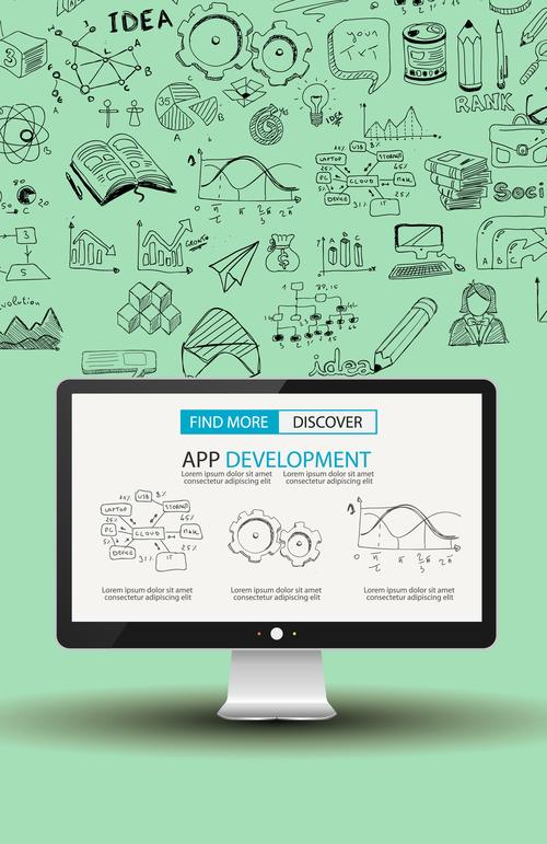 Light green background app develppment information vector