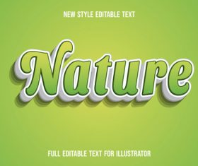 Light green nature text style effect vector