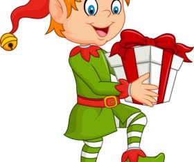 Little boy holding a gift vector