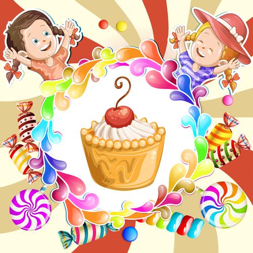 Little girl and cake cartoon illustration vector