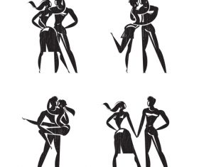 Lovers silhouette vector