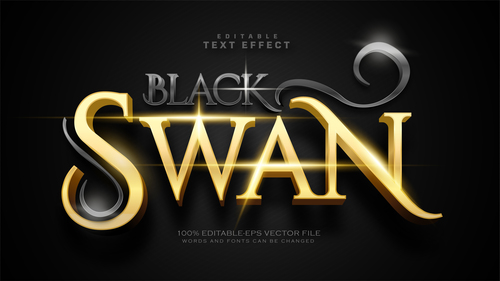Luxury black and gold editable text effect vector