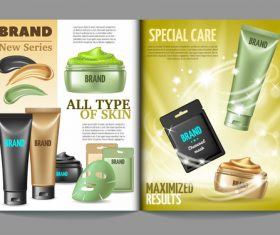 Magazine template cosmetics vector