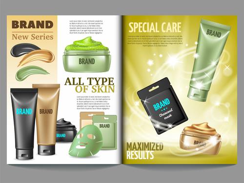 Magazine template cosmetics vector
