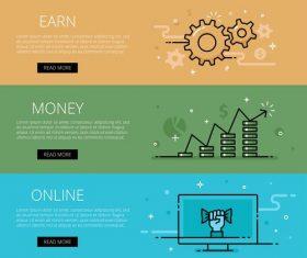Make money online flat banner vector