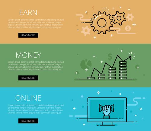 Make money online flat banner vector