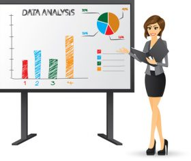 Market data analysis cartoon vector