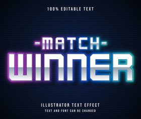 Match winner editable font effect text vector